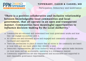 Participation, Democracy and Governance Vision -There is a positive collaborative and inclusive relationship between knowledgeable local communities and local government, that all operate in an open and transparent manner. Communities have meaningful opportunities to influence decision-making by the Local Authority