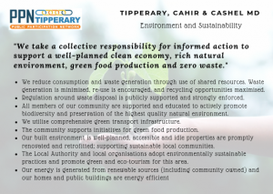 Environment and Sustainability Vision - We take a collective responsibility for informed action to support a well-planned clean economy, rich natural environment, green food production and zero waste